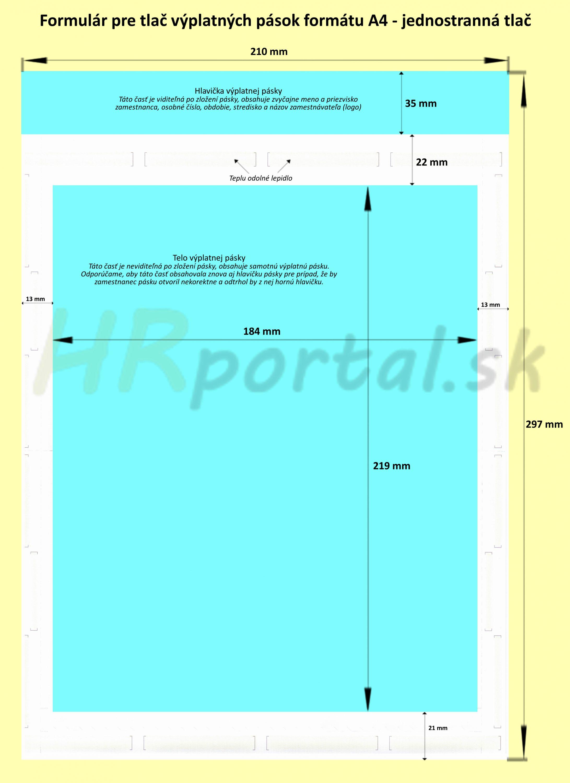 Formulár A4 tajná výplatná páska - popis a rozmery
